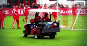 Muller and Weiser disrupt training with a golf kart